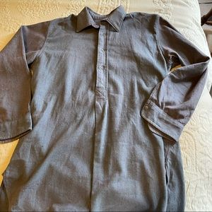 Vintage French style work shirt blue flannel L